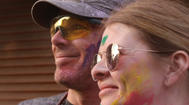 Foreigners in India's Vrindavan during Holi