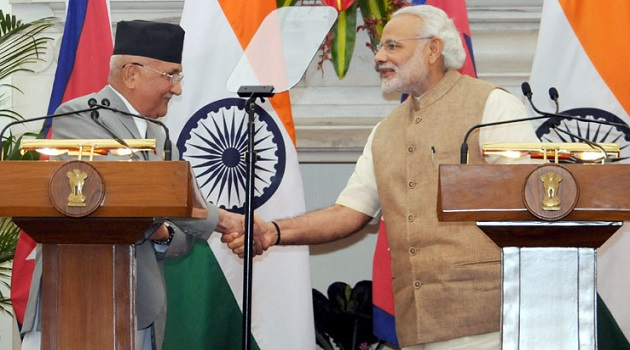 Blast From The Past: Prime Minister Narendra Modi and the Prime Minister of Nepal, KP Sharma Oli at the joint media briefing, at Hyderabad House, in New Delhi on February 20, 2016.